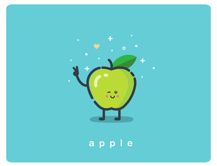 Vector icon of green apple, fruit funny cartoon character