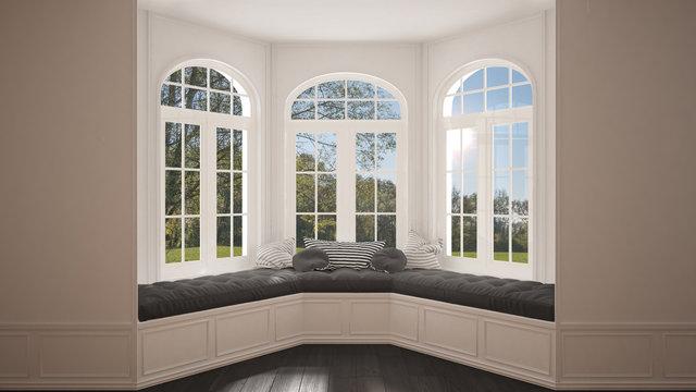 Big window with garden meadow panorama, minimalist empty space, background classic interior design