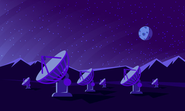 Flat style illustration with satellite dishes in the valley with mountains and moon on background. Radio telescopes track the stars at night.