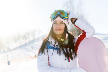 Beautiful woman in ski suit