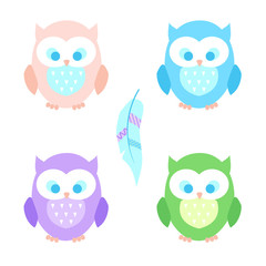 Set of isolated cute cartoon owls. Feather in boho style. Nice template for kids design.