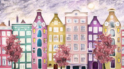 obraz olejny na płótnie, ulica Amsterdamu. nowoczesna grafika. dom. czerwone drzewo. Holandia - 141731703
