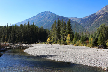 Wall Mural - Flathead River Glacier National Park with Fall Colors