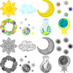 The various cute and pretty icons such as sun and cloud and moon and weather and flower and wreath and bottle and globe