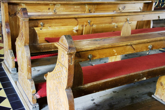 Benches in an old church