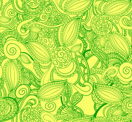Seamless VECTOR doodle pattern, green on yellow.