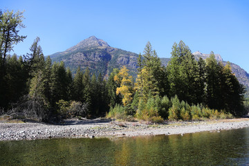 Wall Mural - Flathead River with Mountains in Glacier National Park Fall Colors