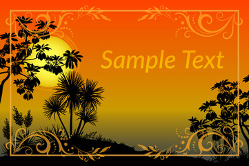 Exotic Landscape, Tropical Plants, Trees and Flowers Silhouettes, Sun and Gold Frame with Floral Pattern. Eps10, Contains Transparencies. Vector