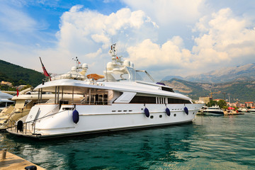 Luxury yacht in Budva marina, Montenegro.