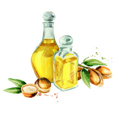 Hand drawn watercolor composition with  bottles of argan oil and a branch of nuts. Can be used as the background for postcards, booklet, leaflet, banner or flyer cosmetic or food products
