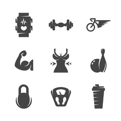 Modern icons set silhouettes of fitness