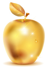 Golden apple with drop of dew