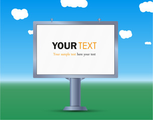 A Billboard near the road, sidewalk sign advertising banner,blank, post,advertising and text.vector illustration.grass and sky.