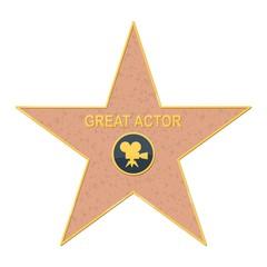 walk of fame star on white