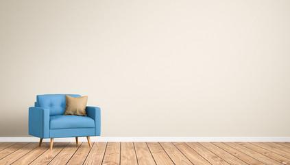 Sessel  im Raum / Wohnzimmer / Leere Wand / 3d
