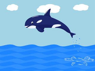 Vector funny cartoon whale jumps out of the water