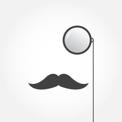 Monocle and mustache. Old fashioned gentleman accessories icon. Vintage or hipster style. Vector illustration.