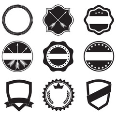 Labels set. Label and badge templates. Collection of retro style emblems, typography, shields, frame, borders, ribbons, banners and stamps. Vector design elements.