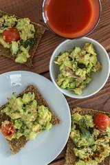 canapes with avocado cream or guacamole