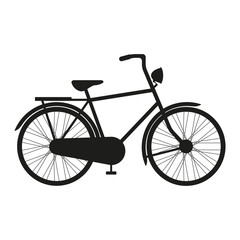 Bicycle icon or sign. Vector black silhouette of Bicycle.