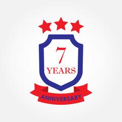 7 years anniversary icon or emblem. 7th anniversary label. Celebration, invitation and congratulation design element. Colorful vector illustration.