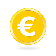 Coin icon. Gold coin with Euro sign. Vector illustration.