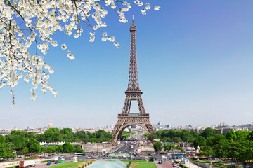 Eiffel Tower and Paris skyline in spring sunny day, France