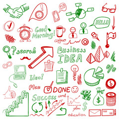 Big set od business doodles, red and green hand drawn icons.