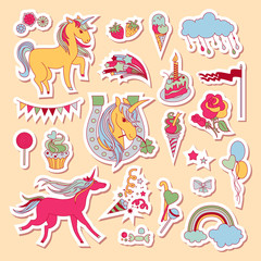 Hand drawn holiday stickers with rainbow, unicorn, cloud, sweets and ice-cream
