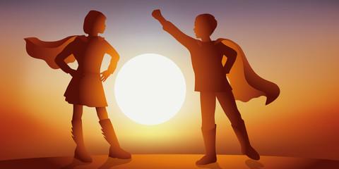 Héros   Enfant - Héroïne - Imagination - Coucher de soleil