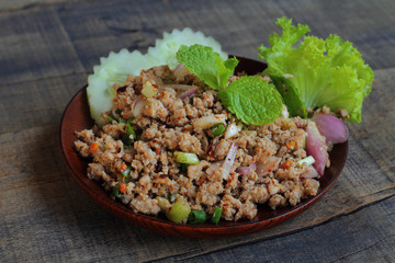 Spicy minced pork salad.