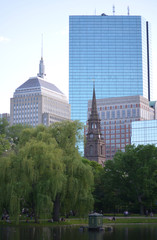 Boston Garden with a Weeping Willow Tree