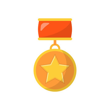 Medal with star and red ribbon