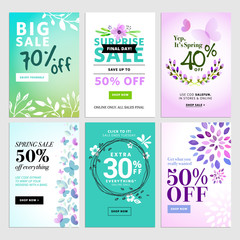 Set of social media sale banners, and ads web templates. Vector illustrations of online shopping website and mobile website banners, posters, newsletter designs, ads, coupons, social media banners.