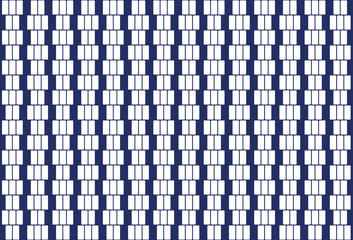 White rectangles in a row. Pattern and seamless tile. Textile design and background. Illustration on blue background. Vector