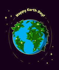 Vector illustration for Earth Day April 22. Happy Earth Day greeting card. Earth Day design. Planet Earth with leaves and flowers and stars.
