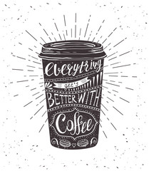 Quote on coffee cup.