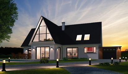 Belle maison moderne de nuit
