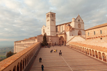 Europe,Italy,Perugia distict,Assisi..The Basilica of St. Francis at sunset