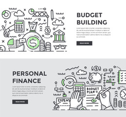 Budget Building & Personal Finance Doodle Banners