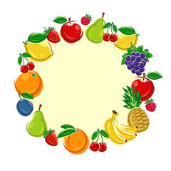 Fruit background. Vector