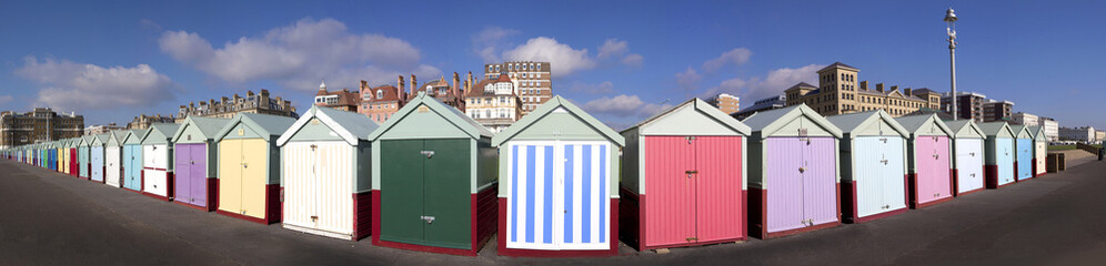 Beach Hut Panorama, Hove, Sussex, UK