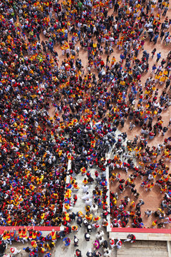 Europe,Italy,Umbria,Perugia district,Gubbio..The crowd and the Race of the Candles.