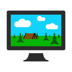 Computer Monitor with Camping Image Flat Graphic Design Icon Vector