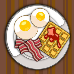 Flat Breakfast Plate Graphic Design Vector