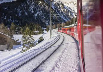 Samedan, Switzerland. On board of the Bernina Express