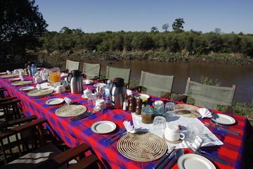 Bush breakfast colazione all'inglese nella savana