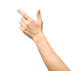 Closeup of male hand pointing isolated