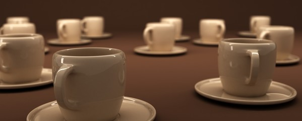 3d rendering of coffee cups on brown background