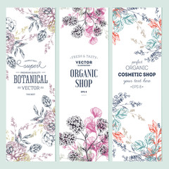 Floral banner collection. Organic shop.